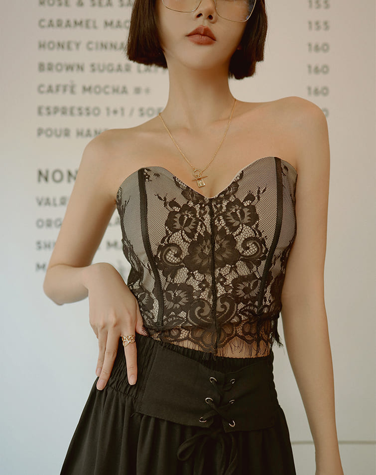 LACE PADDED BANDEAU CORSET TOP
