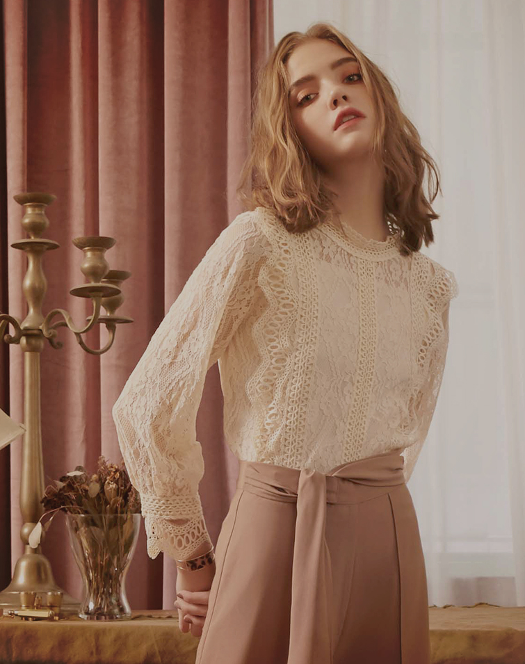Mesh With Lace Jacquard Top