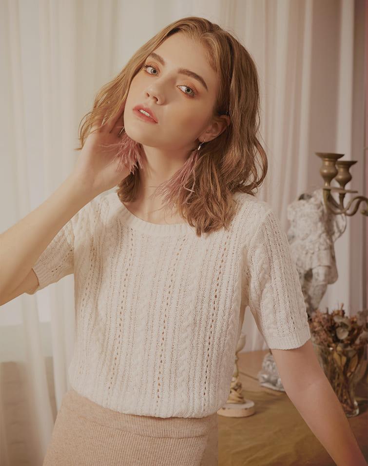 Twist Knitted Round Collar Top