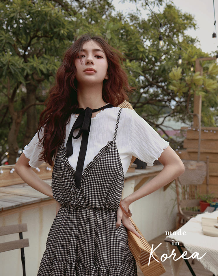 MADE IN KOREA CURLY RIBBED TOP