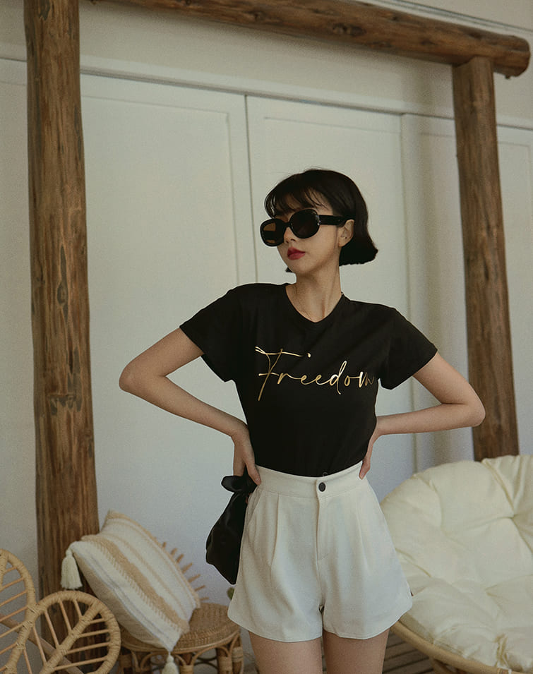 GOLD FREEDOM TEXT TEE