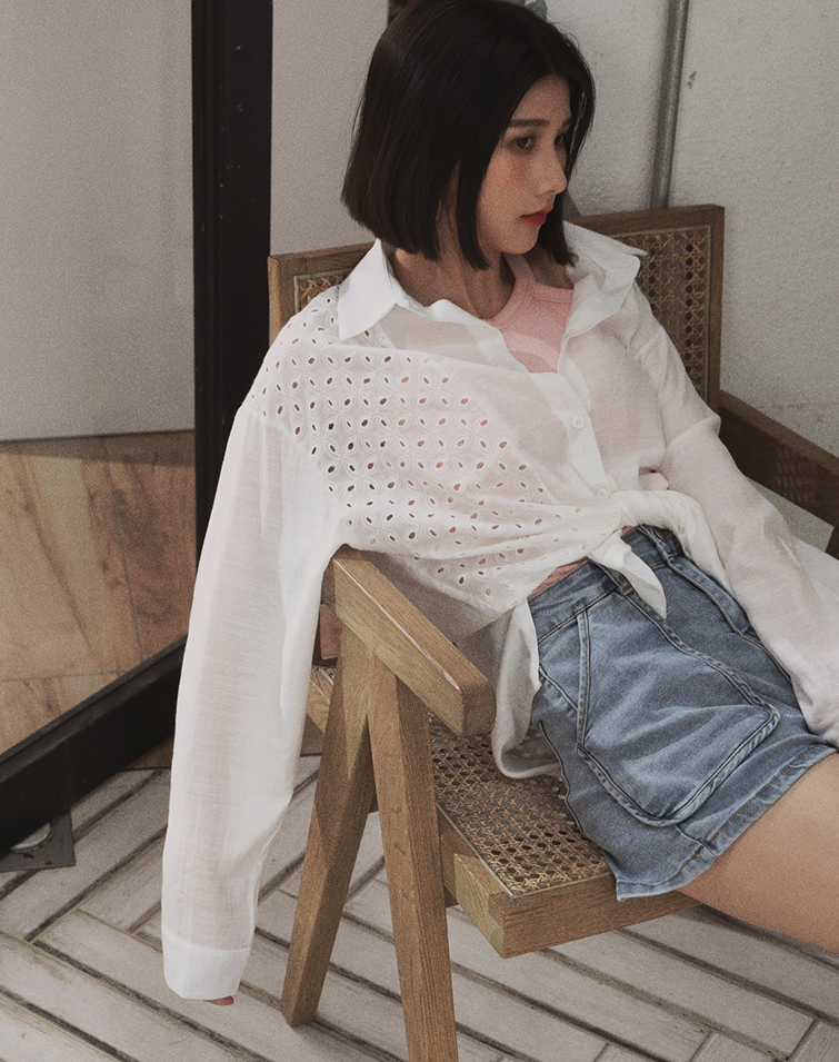 UNEVEN JACQUARD BLOUSE SHIRT