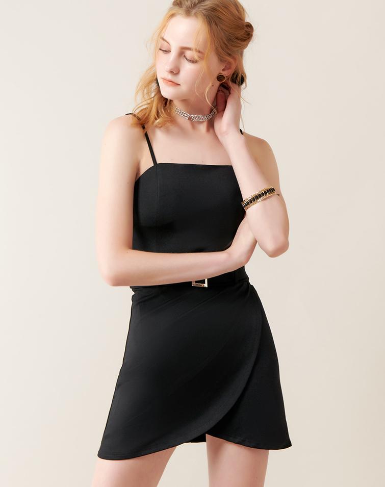 THIN STRAPS SLIT DRESS WITH BELT