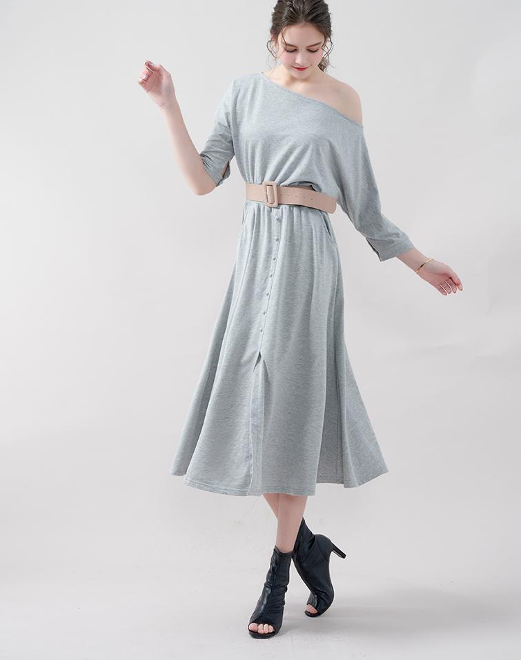 MIT SLANT SHOULDER FLEXI WAIST BUTTONS DRESS