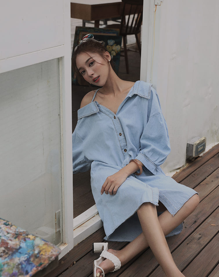 ONE SHOULDER DENIM SHIRT DRESS