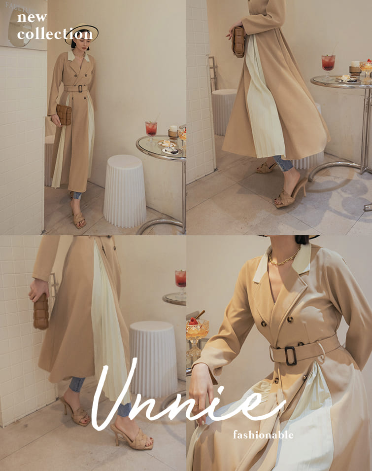 SLIT & PLEATED CONTRAST TRENCH DRESS