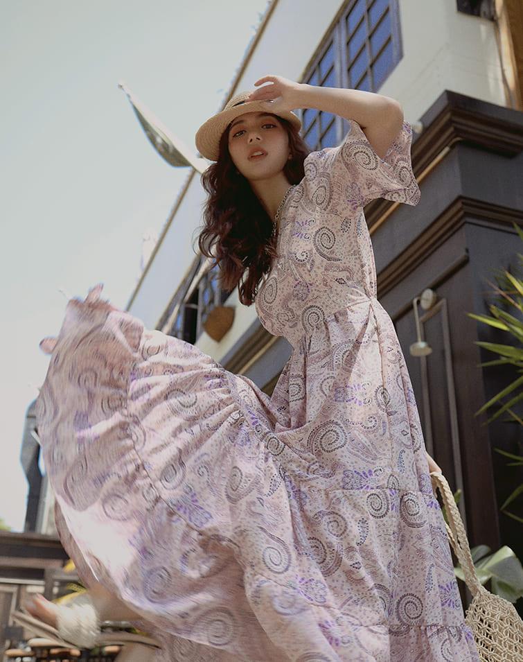 PAISLEY CROSS V-NECK MAXI DRESS