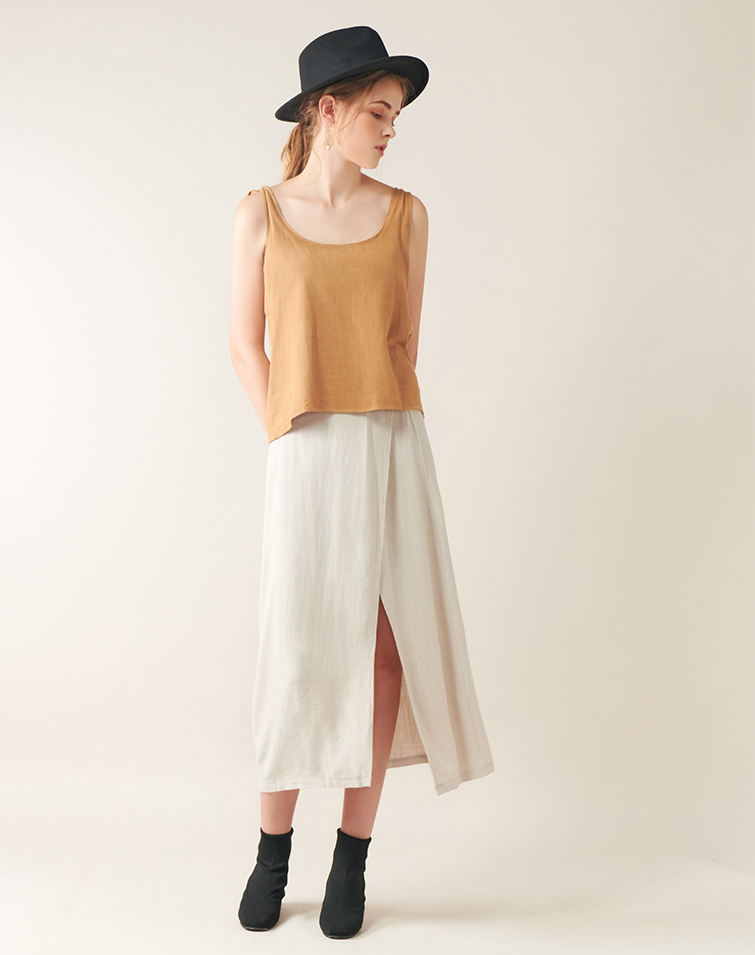 Tie Up Camisole With Slit Hem Skirt Co-ords