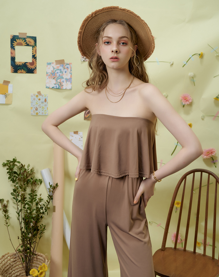 RUFFLY TUBE TOP JUMPSUIT
