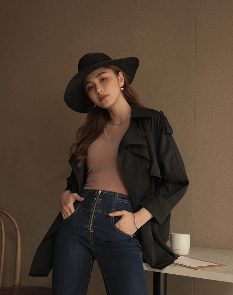 FOLDED COLLAR LAYERED TRENCH COAT