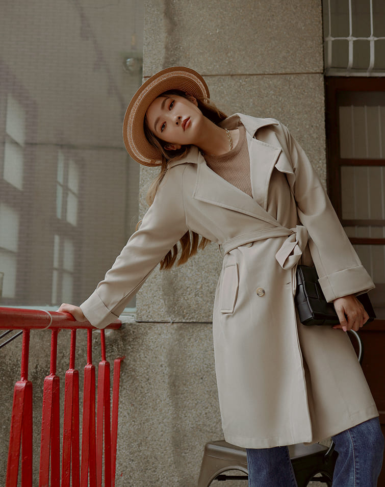 TWO ROW BUCKLES TRENCH COAT
