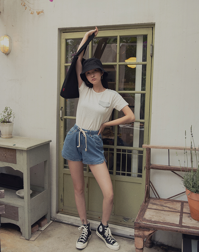 FLARE FLEXI WAIST DENIM SHORTS