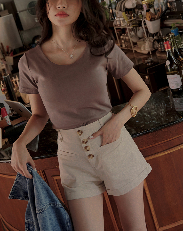 BUCKLE UP COTTON LINEN SHORTS