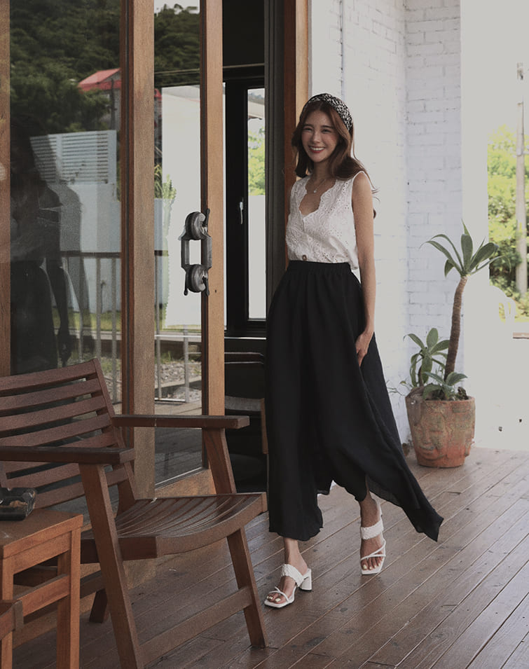 IRREGULAR LINEN COTTON FLARE PANTS