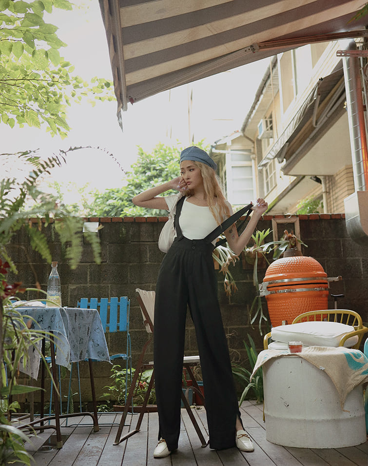 FREE SUSPENDERS HIGH-WAISTED PANTS