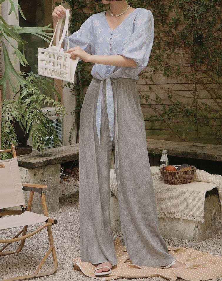 STRETCHY TIE WAIST RIBBED PANTS
