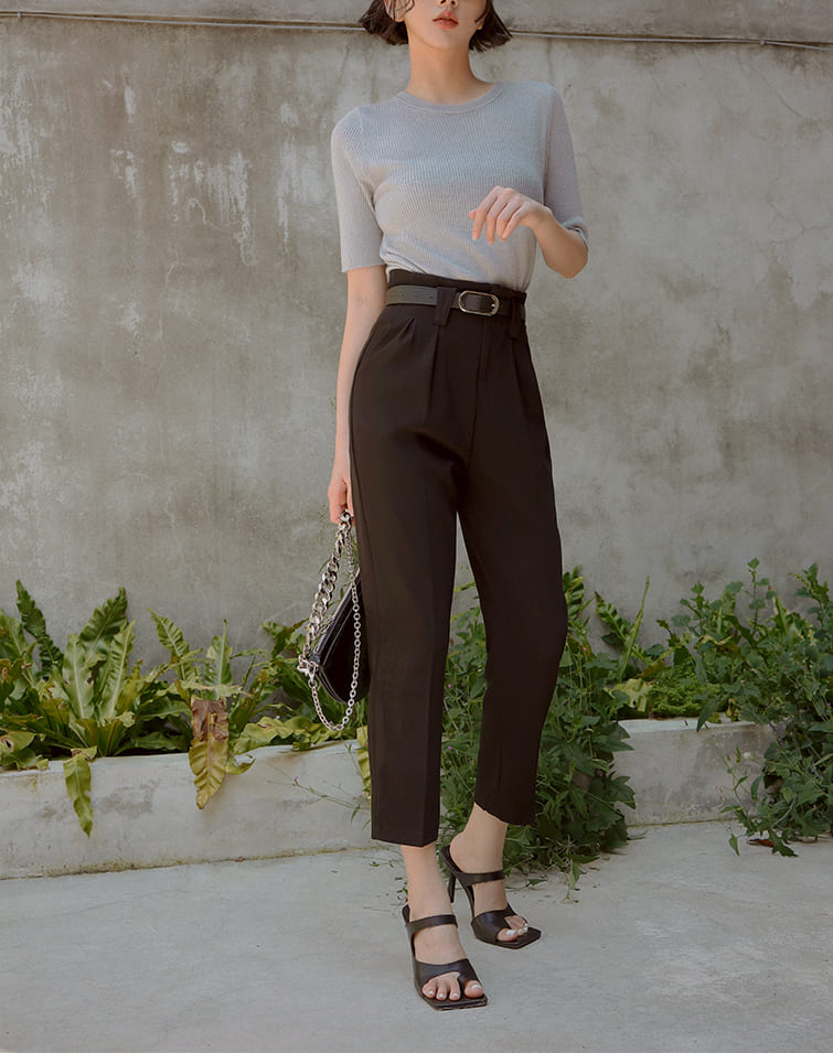 HIGH FOLDS BELTED TAILORED PANTS