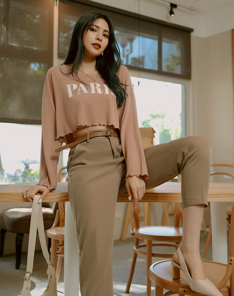 SQUARE BUCKLE BELT TAILORED PANTS