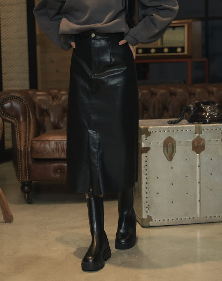 A-CUT HIGH WAISTED SLIT LEATHER SKIRT