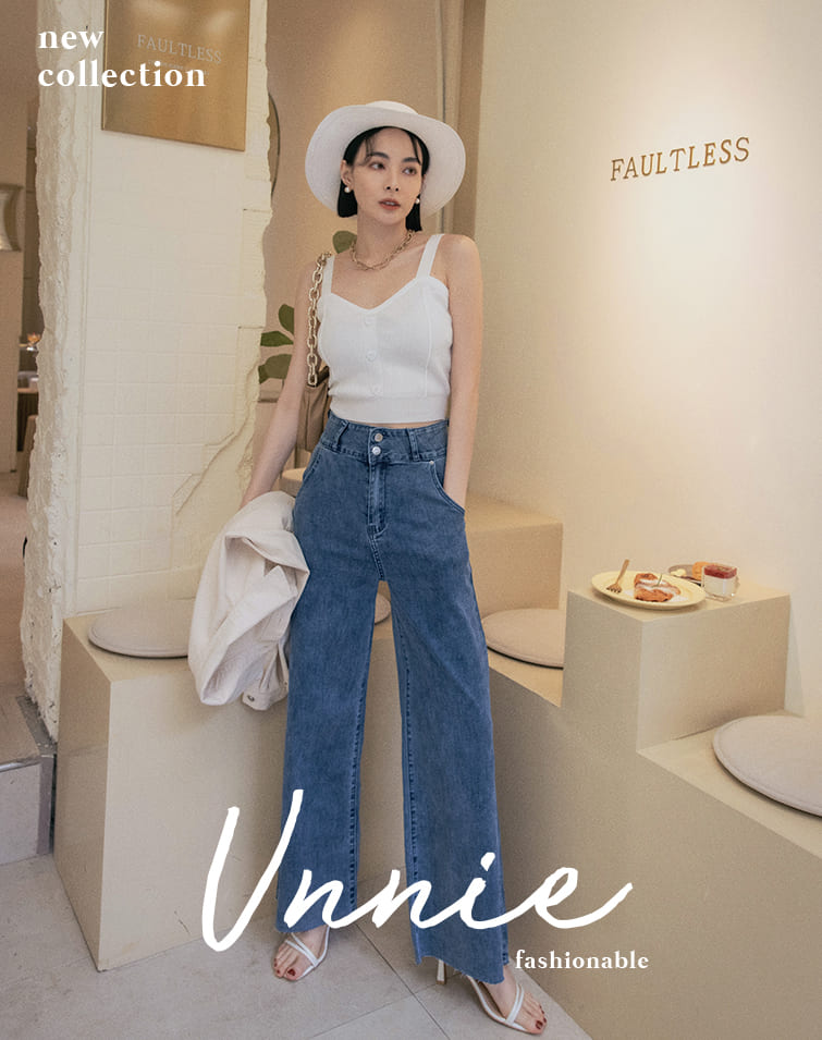 TWIN BUCKLE RAW EDGE FLARE JEANS