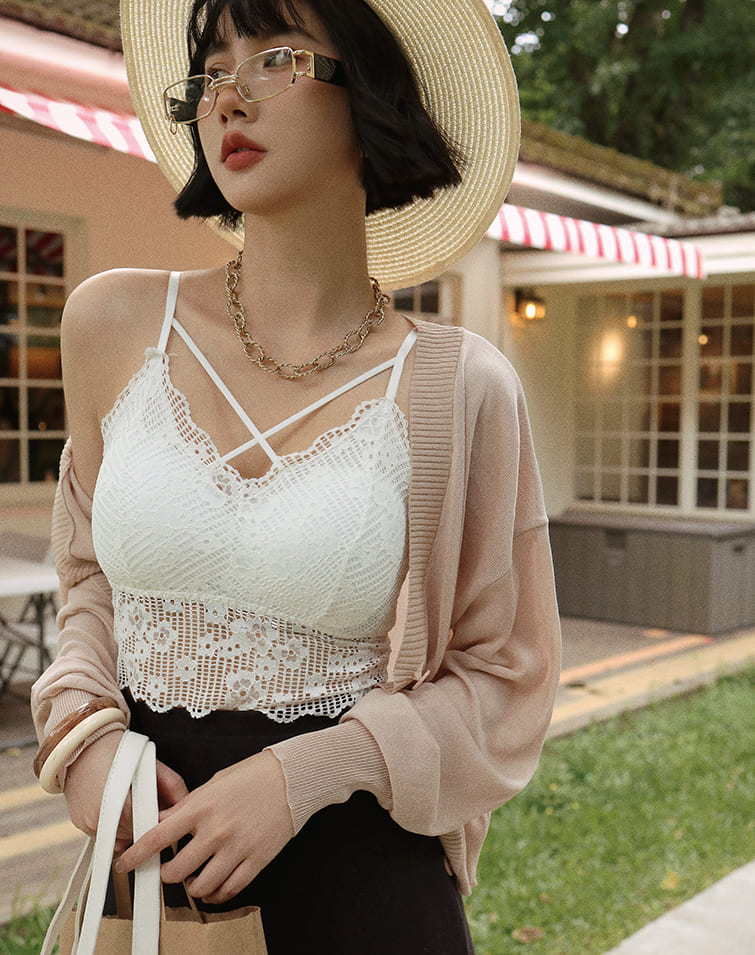 SHEER LACE STRAPS BRA TOP