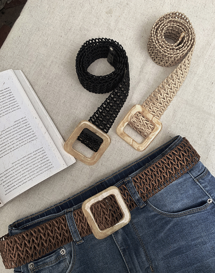 SQUARE BUCKLE HOLLOW WEAVED BELT