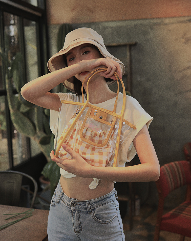 TWO WAY CLEAR TRANSPARENT TOTE BAG