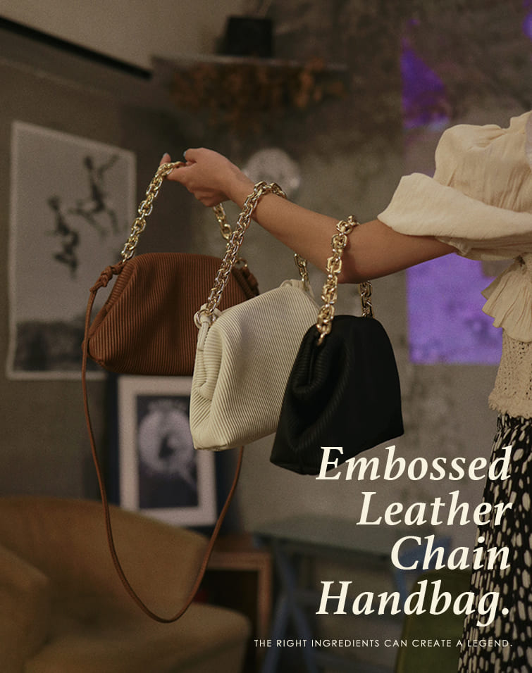 EMBOSSED LEATHER CHAIN HANDBAG